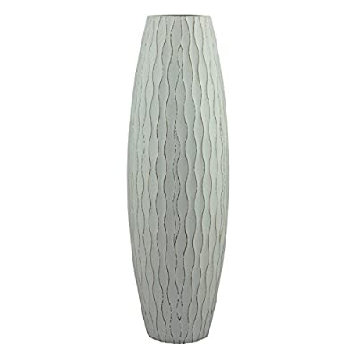 "Stonebriar Beach Nostalgia Large Weathered Pale Ocean Wood Vase, Light Blue - This beach inspired vase measures 5.2"" x 15.9"" and is the perfect sized accent piece for your living room, dining room, and bedroom Stone briar's wood vase features an ocean inspired design with a textured wave pattern enhance with a lightly distressed pale ocean blue painted finish Use vase as a stand alone decor accent piece or add your favorite artificial flowers, sticks, and decorative fill to create an interesting centerpiece - vases, kitchen-dining-room-decor, kitchen-dining-room - 41NbAUoz%2B8L. SS400  -"