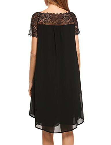 ACEVOG Casual Elegant Chiffon Lace Patchwork A Line Boat Neck Short Sleeve Dress, Black, Small