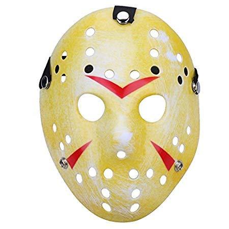 (Jason Mask - Mascara Jason Masks Dance Gathering Halloween Mask Horror Funny Masquerade Prop Party Festival - Cosplay Hood Stickers Realistic Glow Broken Decal Mold Decor White )