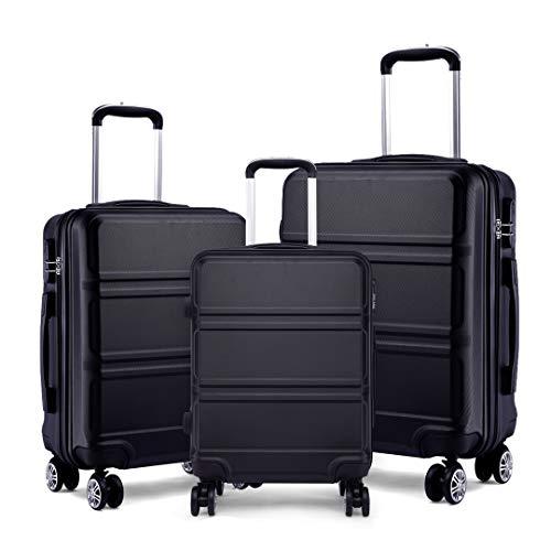 Kono Fashion Luggage Set of 3 PCS Lightweight ABS Hard Shell Trolley Travel Case with 4 Spinner Wheels 20″ 24″ 28″ Suitcase (3 Pcs Set, Black)