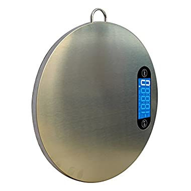 Praline Food Scale Best Professional Multifunction Digital Kitchen Scale with Hanger for Easy Storage Stainless Steel & Easy To Clean Measures Grams, Ounces & Fluid Ounces, 11 lb