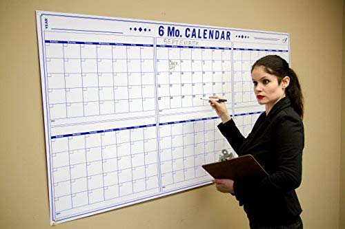 6 Month Office Wall Calendar - 36'' x 72'' Large Dry Erase Calendar for Wall - Big Calendar for 6 Month Planning