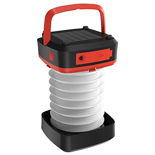 - ZHMEZH Camping Light LED Solar Powered 130 Lumens Portable Three Modes USB Rechargeable Outdoor Collapsible Tough Lamp with Magnetic Base for Camping,Hiking,Fishing, Mountaineering (Color : Red)