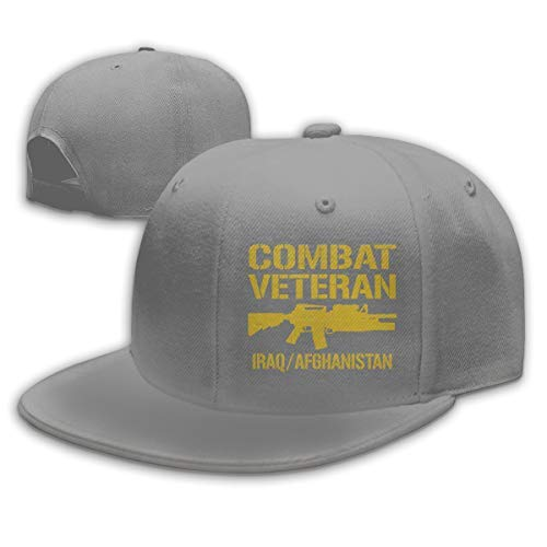 (Combat Veteran Iraq and Afghanistan Adjustable Flat Bill Snapback Baseball Hip-hop Cap Hat Black)
