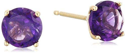 Yellow Gold Amethyst Earrings - 1