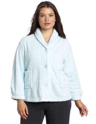 Casual Moments Womens Plus-Size Shawl Collar Bed Jacket, Light Blue, 1X Blue Bed Jacket