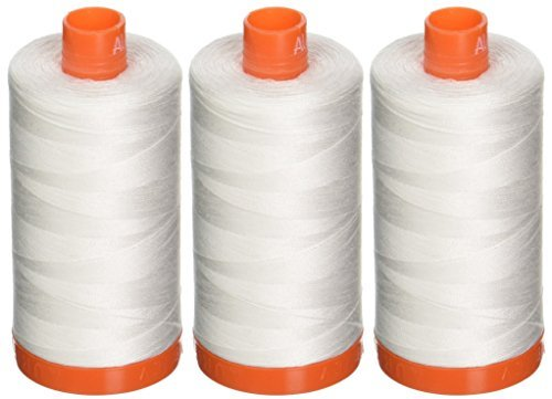 3-PACK - Aurifil 50WT - Natural White, Solid - Mako Cotton Thread - 1422Yds EACH - MK50-2021 -