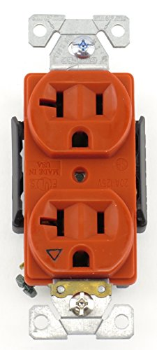 Cooper Wiring Devices IG5362RN Isolated Ground Premium Industrial Grade Receptacle 20A-125V NEMA 5-20R, Orange (Cooper Ground)