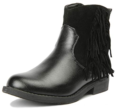 JELLY BEANS Girls Boots Ankle Fringe Tassel with Side Zipper Black Size 13