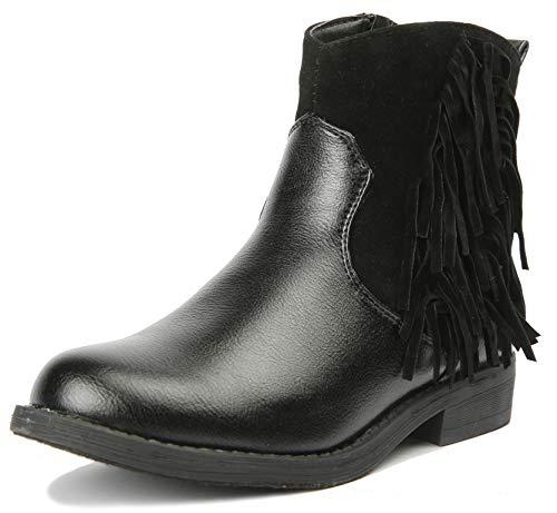 JELLY BEANS Girls Boots Ankle Fringe Tassel with Side Zipper Black Size - Jelly Girl Bean