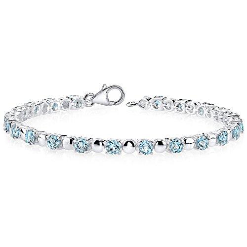 London Blue Topaz Bracelet Sterling Silver Round Shape 6.00 Carats