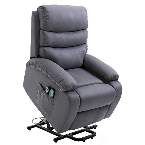 Homegear Microfiber Power Lift Electric Recliner Chair with Massage, Heat and Vibration with Remote (Charcoal)