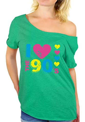 Awkward Styles Women's I Love The 90's Off The Shoulder Tops for Women T Shirts for 90's Fans Heatherkelly 2XL