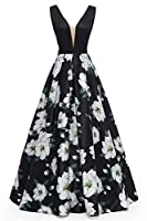 Dydsz Long Evening Party Dresses for Women Formal Floral Print A Line Backless Prom Dress D295