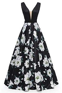 Dydsz Long Evening Party Dresses for Women Formal Floral Print A Line Backless Prom Dress D295