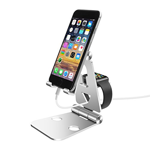 Hunter-K Adjustable Phone Stand for Apple Watch(38 mm/40 mm/42 mm/44 mm) iPhone iPad Tablet Android Phone, 2 in 1 Fold-able Aluminum Desktop Stand Holder,Multi-Angle Cell Phone Holder, Cradle, Dock.