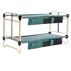 Disc-O-Bed Cam-O-Bunk with 2 Organizers and Leg Extension, Tan/Green, X-Large by Disco Bed
