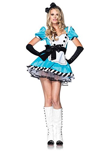 [Mememall Fashion Leg Avenue Sexy Women's Costume Charming Alice in Wonderland Blue Dress Outfit] (Adult Lady Liberty Plus Size Costumes)