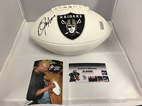 Bo Jackson Autographed Signed Raiders Logo Football GTSM Player Hologram AND COA Card W/Photo From Signing
