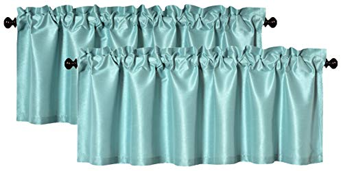 Aiking Home (Pack of 2) Solid Faux Silk Window Valance, 56 by 16 Inches, Aqua ()