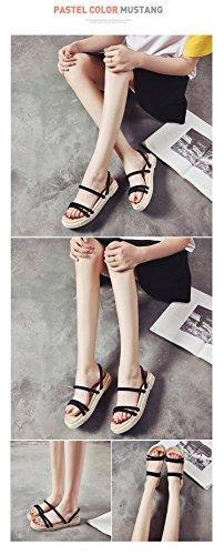 prape Plage black Sandales Chaussures pour Simple Femme De été Chaussons rIfrwqU