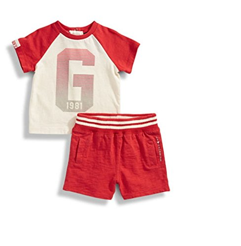 GUESS Baby Boys 2-Piece Tee and Shorts Set, 0/3 Months, Red