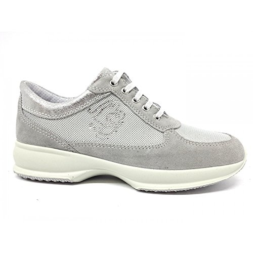 Grigio Vero Sneakers Donna Scarpe Perla Nylon Grigio Perla Camoscio Imac 105831 wAfzITwx