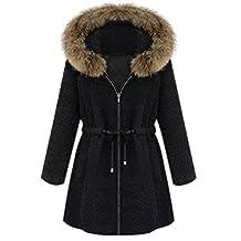 East Castle Women's Winter Lambswool Parka Coat With Faux Fur Trim Hood W-113