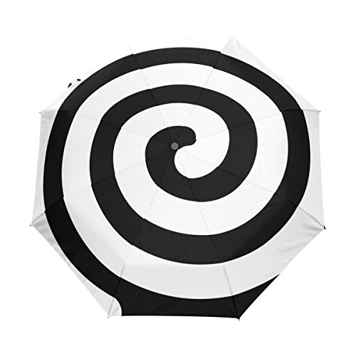 Amazon.com: Sunlome Black Spiral Windproof Travel Umbrellas Canopy Auto Open & Close Folding Umbrella: Sports & Outdoors