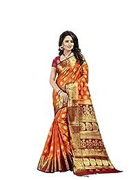 Mirraw Wedding Wear Orange Art Silk Woven Saree with Unstitched Blouse