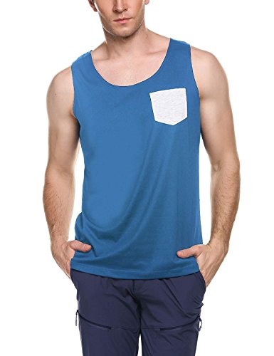 Jinidu Men's Jersey Tank Top Casual Sleeveless T Shirt with Pocket - Mens Sleeveless Pocket