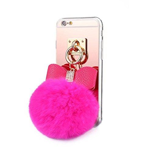 Plush Case (Galaxy S8 Case,Fusicase Cute Rabbit Plush Fur Fuzzy Furry Hiar Ball Diamond Bow Bowknot Soft TPU Slim Sillicone Rubber Gel Mirror Back Case Cover For Girls For Samsung Galaxy S8)