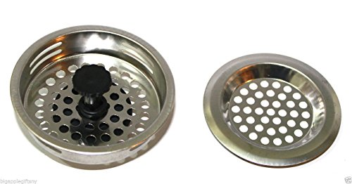 2 PCS STAINLESS STEEL KITCHEN SINK Strainer and Stopper Set 3 Diameter NEW