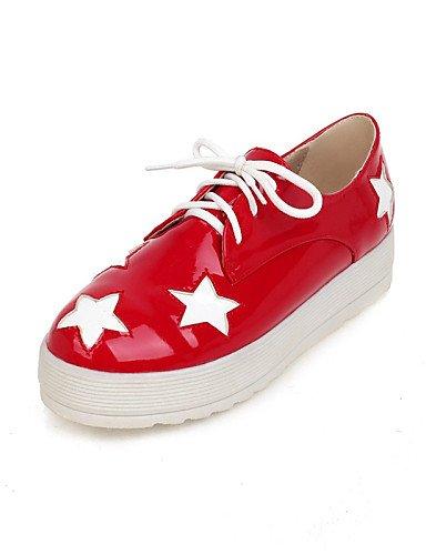 ZQ Zapatos de mujer - Plataforma - Plataforma / Creepers / Punta Redonda - Mocasines - Exterior / Vestido / Casual - Semicuero - Negro / Rojo , red-us10.5 / eu42 / uk8.5 / cn43 , red-us10.5 / eu42 / u black-us9.5-10 / eu41 / uk7.5-8 / cn42