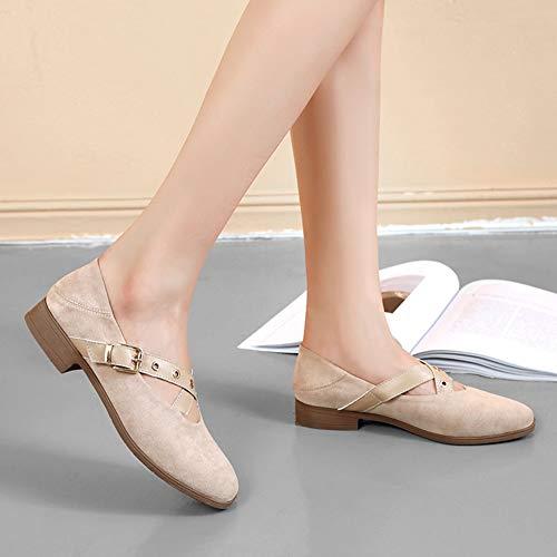 Beige Beige Comode da HWF donna tonde scarpe 38 Taglia Colore RzR1n