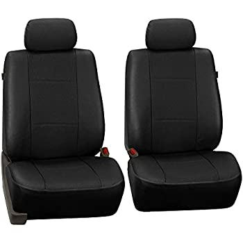 FH GROUP PU007102 Deluxe Leatherette Front Set Seat Covers Airbag CompatibleBlack