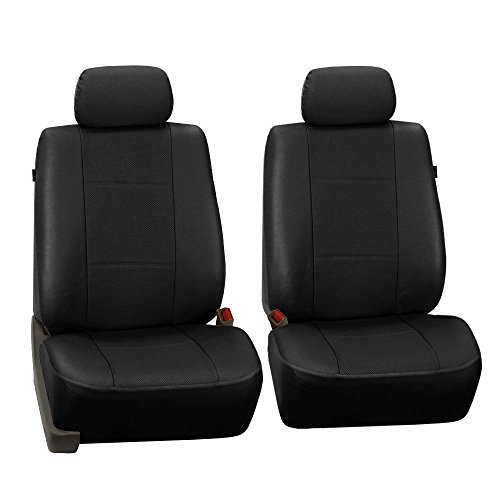 FH Group FH-PU007102 Deluxe Leatherette Front Set Seat Covers, Airbag Compatible,Black color- Fit Most Car, Truck, Suv, or Van -