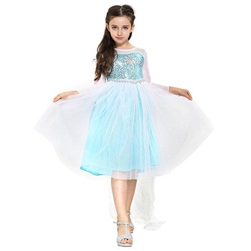 Fancy Elsa, Cinderella Dresses for girls inspired by Frozen (3-4 years, Blue - Elsa with (Disney Princess Belle Wedding Dress)
