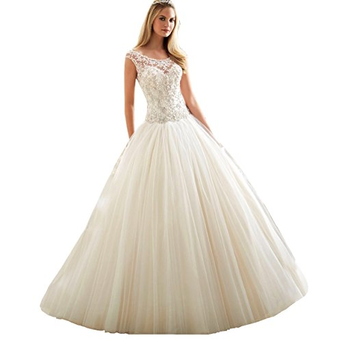 DingDingMail Princess Lace Wedding Dress for Bride 2017 ball Gown Lace beads Wedding Dresses Long (047) by DingDingMail