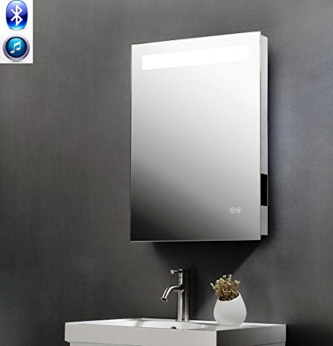 ShellKingdom Vertical LED Bathroom Silvered Mirror with Touch Button, Infrared sensor with a Bluetooth Speaker(SK-S2820) by ShellKingdom