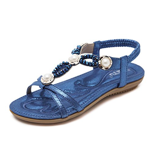 Lolittas Summer Diamante Wedge Sandals for Women,Glitter Sparkly Jewelled Low Heel Ankle Strappy Peep Toe Wide Fit Slingback Outdoor Shoes Size 2-9 Blue
