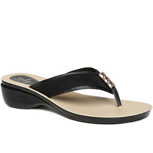 25e456e23 PARAGON SOLEA Women s Black Flip-Flops  Buy Online at Low Prices in India -  Amazon.in