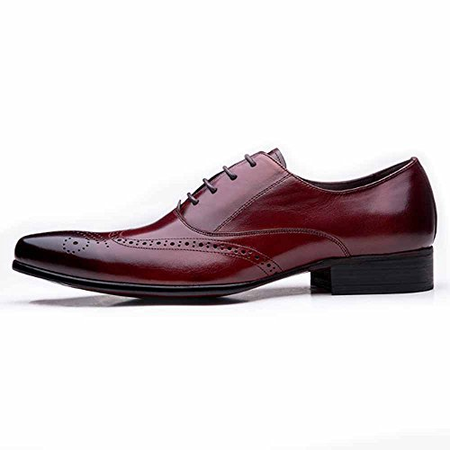 Fulinken Uomo Scarpe Oxford In Vera Pelle Lace Up Slip On Boots Scarpe Brogue Scarpe Da Cerimonia Formali Marrone