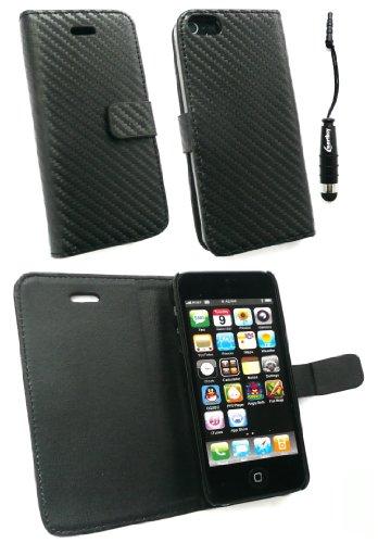 Emartbuy ® Pack Stylet Pour Apple Iphone 5 Prime Pu Wallet Leather Case / Cover / Etui En Fibre De Carbone Effet In Noir + Mini Metallic Noir + Stylus Protecteur D'Écran Lcd