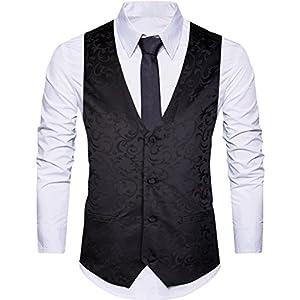 WANNEW Mens Suit Vest Waistcoat Business Dress Vests Paisley Vest for Suit or Tuxedo