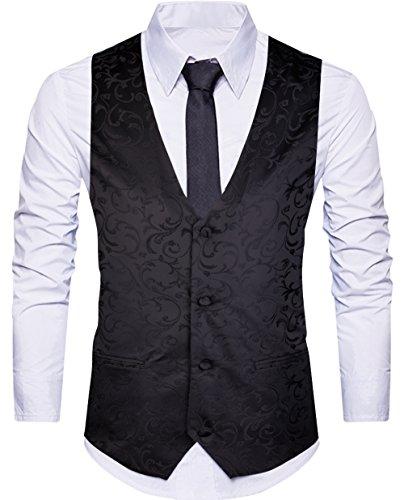 WANNEW Mens Suit Vest Waistcoat Business Dress Vests Paisley Vest for Suit or Tuxedo (Black, L) by WANNEW