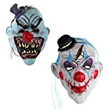 2Pcs/Set Scary Clown Halloween Devil Mask With Hair, Mini Hat,Horror Mouth for Adults Halloween Costume Party Props Masks