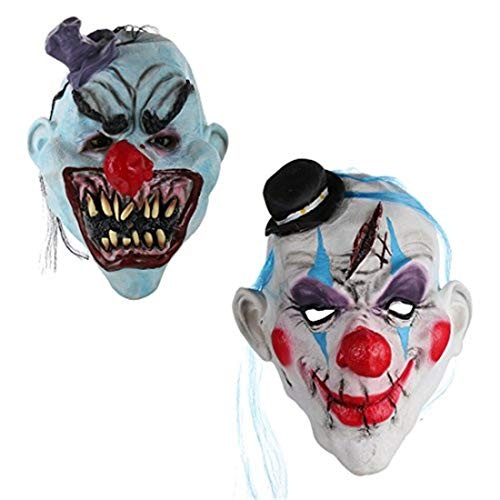 2Pcs/Set Scary Clown Halloween Devil Mask With Hair, Mini Hat,Horror Mouth for Adults Halloween Costume Party Props Masks by YUFENG