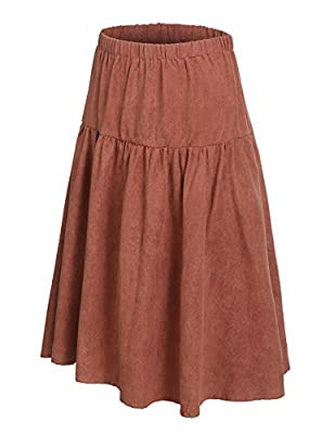 Midi Faux Suede Pleated A-line Flare Skirt Elastic High Waist Knee Length Vintage Skirts for Women