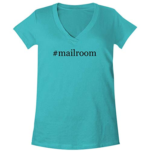 (The Town Butler #Mailroom - A Soft & Comfortable Women's V-Neck T-Shirt, Aqua, Large)